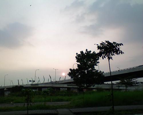 street sunset sky tree grass cityscape afternoon flyover pasupati