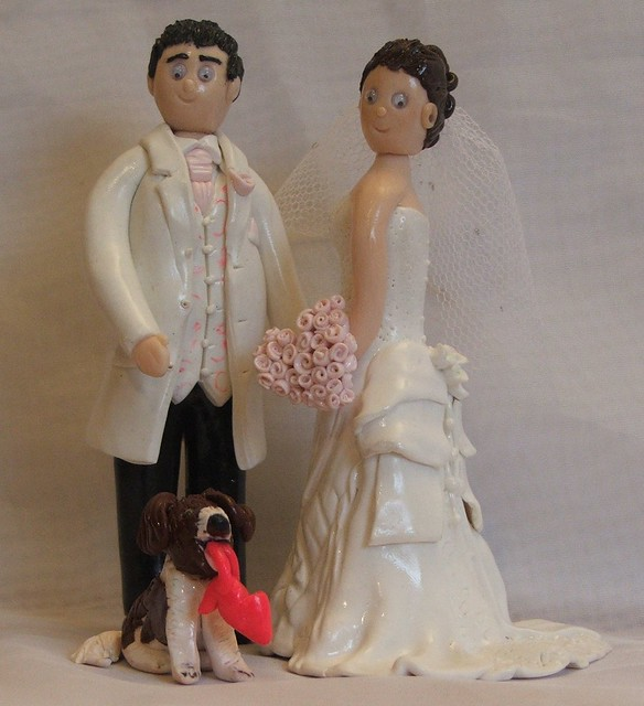 Wedding Cake Toppers with Dog jess and her husband with favorite dog