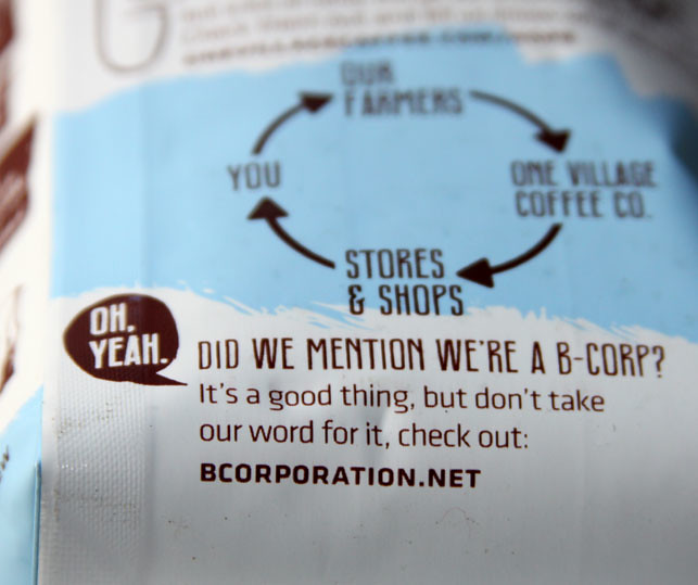 New Work: One Village Coffee Bag, proud to be a B-Corp