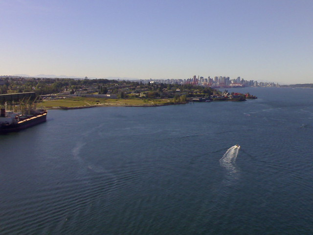 Cascadia Terminal, New Brighton Park, and Vancouver as Seen from the Second Narrows Bridge