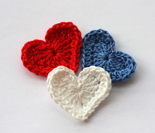 Crochet applique hearts red white and blue | Flickr - Photo Sharing!