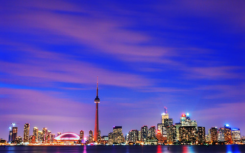 The Blue Hour on Toronto, with a touch of pink