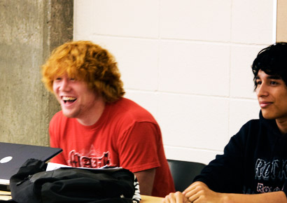 Newman University students laughing in class