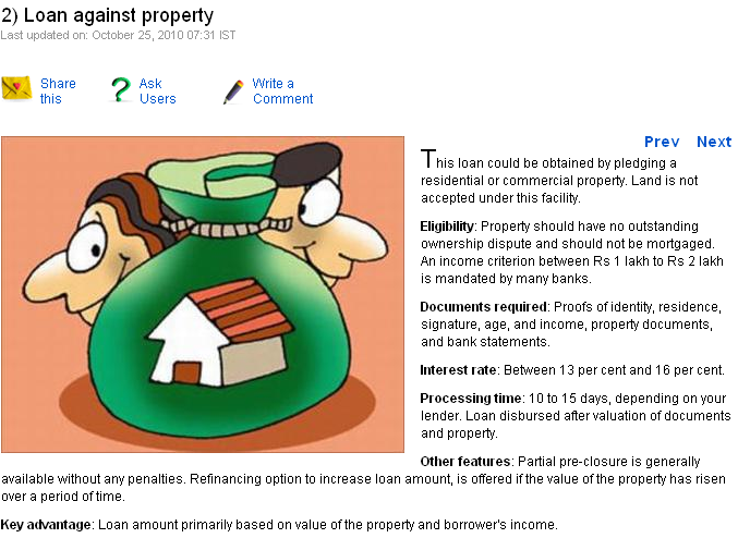 Loan against property are personal loans the only option for Loan for land only