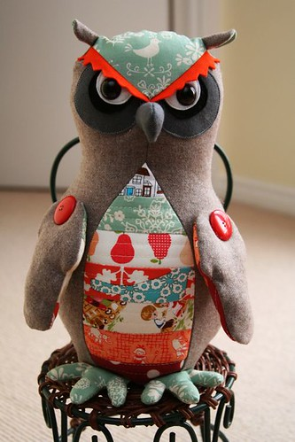 Olwen the Owl with Patchwork Quilted Belly
