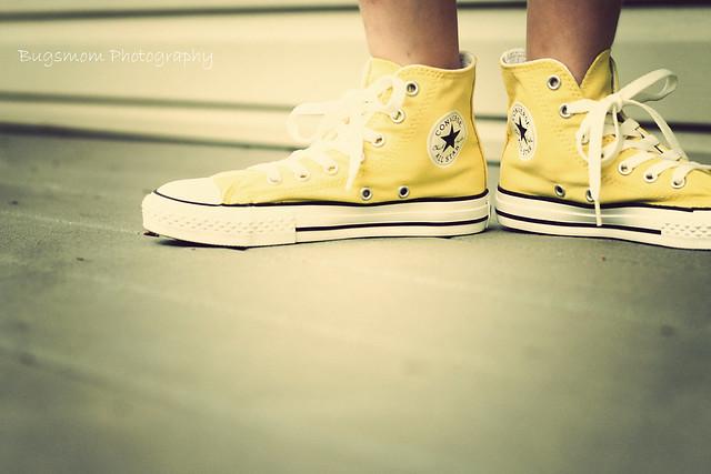 .yellow chucks.
