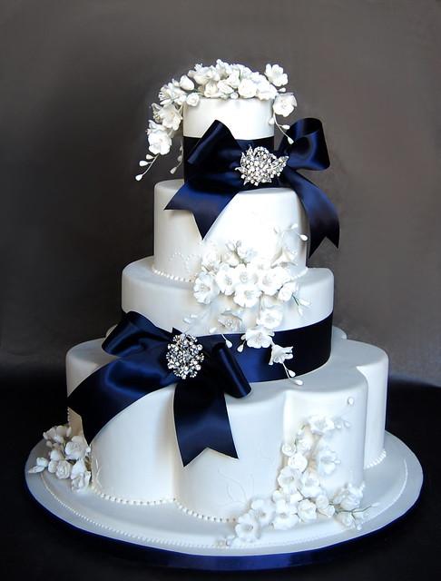 blue bows and bling fake wedding cake flickr photo sharing. Black Bedroom Furniture Sets. Home Design Ideas