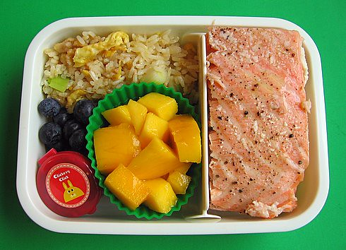 Salmon & fried rice lunch
