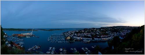 ocean blue sunset sea panorama nature water landscape town photostich risør canonef1635mmf28liiusm betterthangood explorewinnersoftheworld