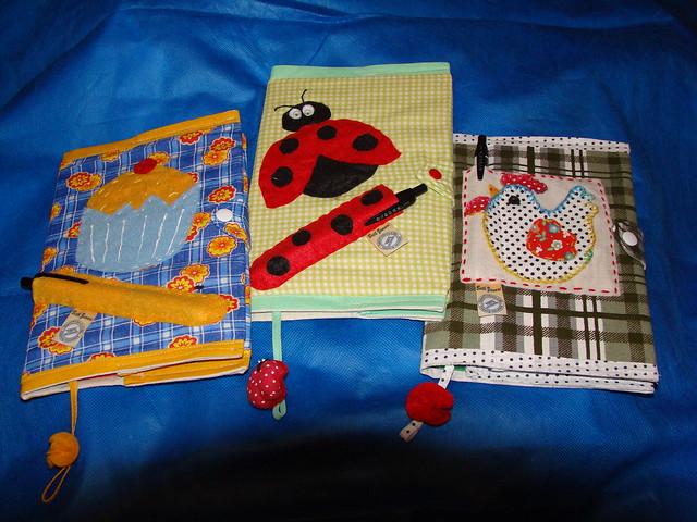 capas de cadernos de receita em tecido