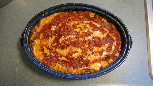 Solar cooked chicken enchilada casserole