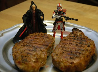 The Emperor Palpatine and Commander Thire Guarding Two Kansas City Strip Steaks