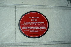 Photo of Andy Warhol red plaque