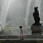 Girl Playing in Fountains - Almaty, Kazakhstan