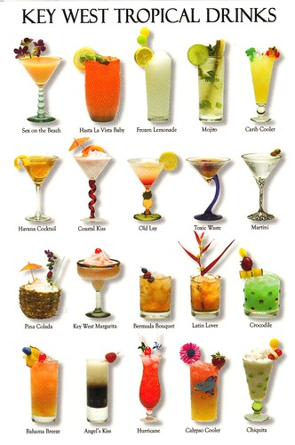Key West Florida Tropical Drinks postcard - available