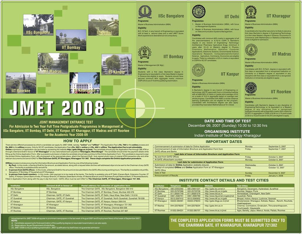 joint management entrance test 2008  jmet 2008   som