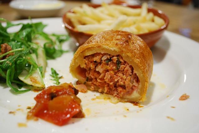Insides - Chorizo Sausage Roll, Fries, Rocket, Pear, Walnut Salad ...