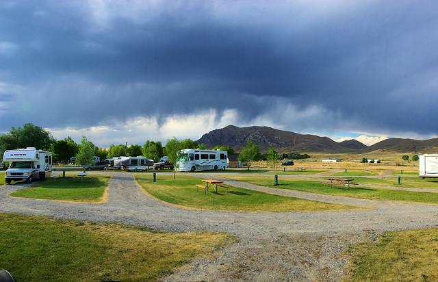 Storm clouds over Arco KOA, Arco, Idaho, October 19, 2010
