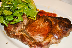 meal, steak, roasting, veal, pork chop, rib eye steak, meat, sirloin steak, food, dish, meat chop, cuisine, cooking, lamb and mutton,