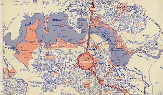 Map of Lake Burley Griffin, parliamentary triangle and the city centre, c1966