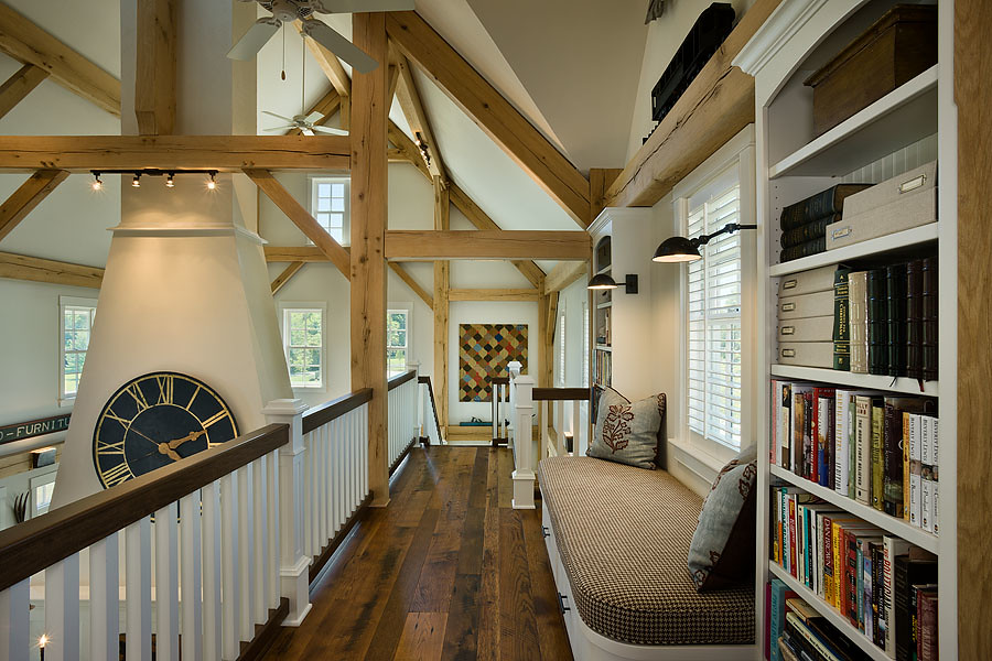 modern meets country loft library