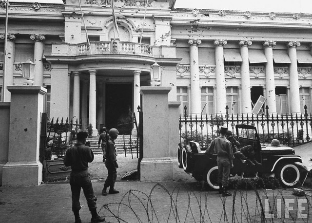 Wrecked Presidential Palace, gutted & ransacked after military coup that overthrew Diem Government.