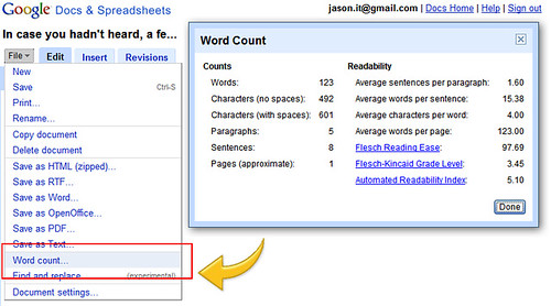 google drive how to count words