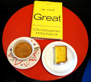 Espresso, lemon cake and the book I am reading now