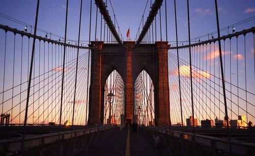 Sunset on the Brooklyn Bridge