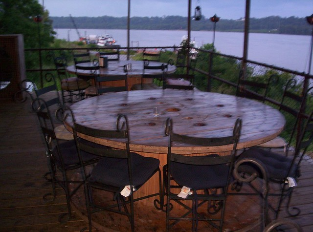 Photo for Outdoor tables made out of wooden wire spools