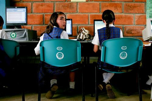 A computer class at a rural secondary school in La Ceja del Tambo