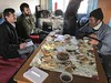 Snow leopard researchers have lunch, Tajikistan