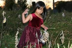 Olivia Tossing Milkweed Seeds
