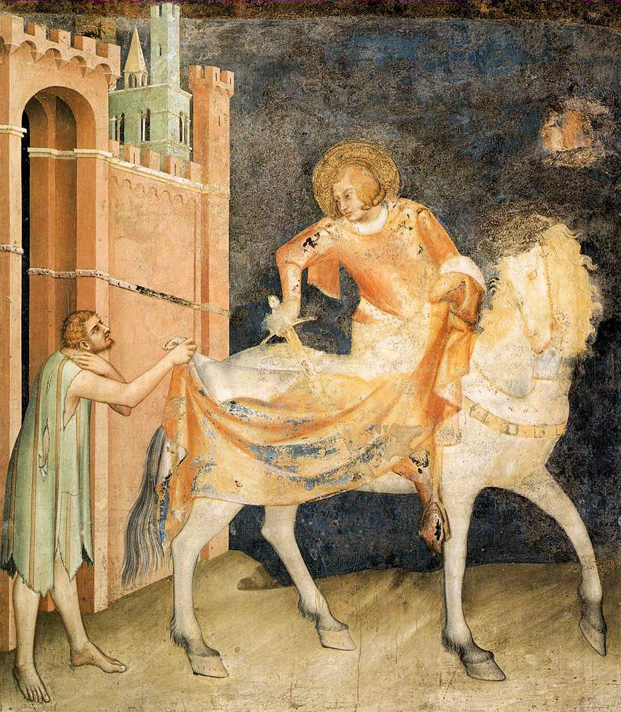 St. Martin of Tours and the Beggar, painted about 1320 by Simone Martini for the chapel of St Martin in Assisi. Photo: Jim Forest http://www.flickr.com/photos/jimforest/986530941