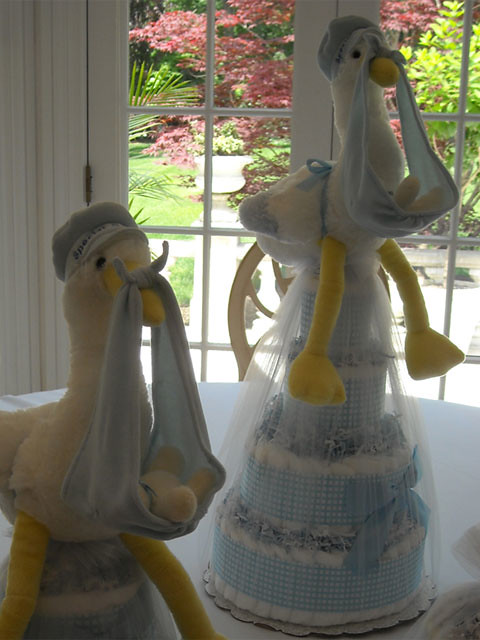 Stork Baby Shower Centerpieces Using Mini Tickled Blue Diaper