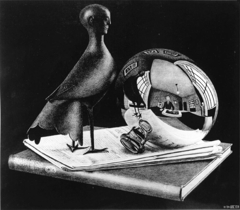 M c escher nature morte au miroir sph rique 1934 for Miroir spherique
