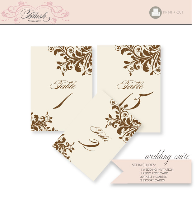 Flourish DIY Wedding Invitation Suite Printable PDF