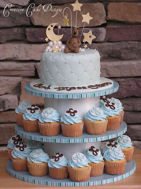 Baby Shower Cupcake Tower Ideas : Baptism Boy Cupcake Tower Flickr - Photo Sharing!