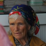 Elderly Woman in Floral Bandana - Almaty, Kazakhstan