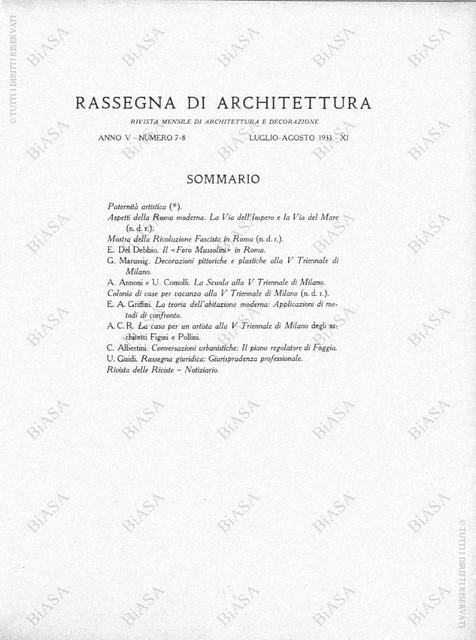 """Roma - Via dell Impero & Via dell Mare: AA.VV., ASPETTI DELLA ROMA MODERNA - """"Le Via dell' Impero e la Via dell' Mare."""" RASSEGNA DI ARCHITETURA, N. 7-8 (1933), pp. 308-319. Fonte/ source: BiASA, Roma 2010."""