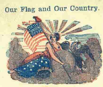 Patriotic letterhead 'Our Flag' close-up
