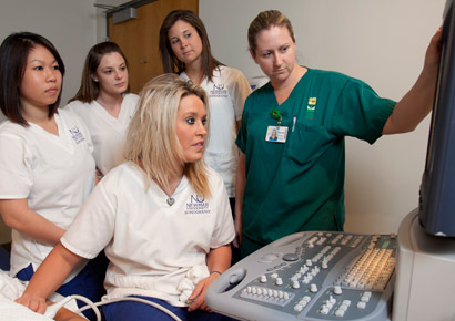 Newman University students practice their sonography skills