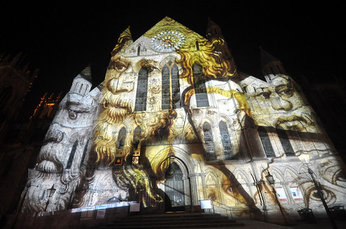 Illuminating York installation 'Rose' on the South Transept