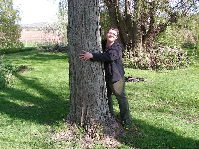 Kate by the honey locust tree, 2007