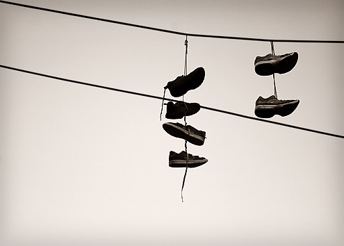 Shoes on power lines | Flickr - Photo Sharing