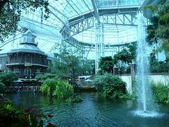 greenhouse(0.0), estate(0.0), botanical garden(1.0), flower(1.0), garden(1.0), water feature(1.0), tree(1.0), reflection(1.0), fountain(1.0),