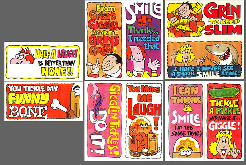 Grins & Smiles & Giggles & Laughs cereal - Silly Signs stickers - Full Set - 1970's
