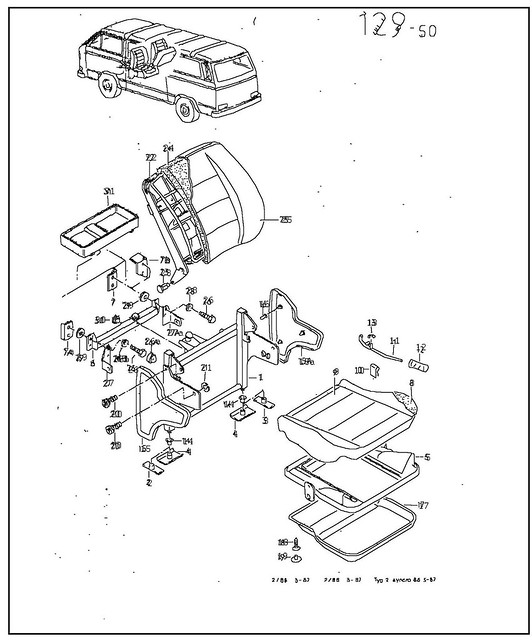 vanagon plate 129-50 jump seat parts diagram only