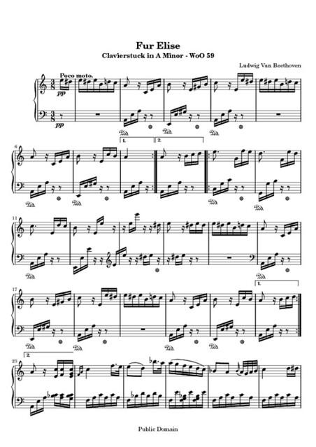 Fur Elise - Free Sheet Music for Piano   Fur Elise - free PD ...