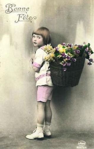 Vintage Postcard ~ Little Girl w/ Flowers